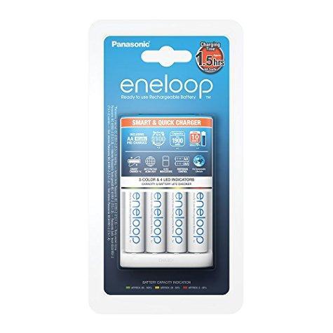 Chargeur Eneloop intelligent + Lot de 4 piles 1900 mAh (AA/LR6) offert