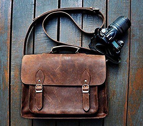 """Sacoche photo FeatherTouch 15"""" en cuir avec compartiments"""