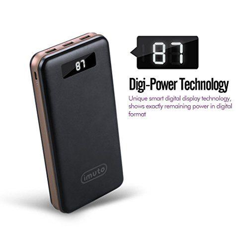 Batterie Externe iMuto 30000mAh Haute Capacité (3 USB / LCD)
