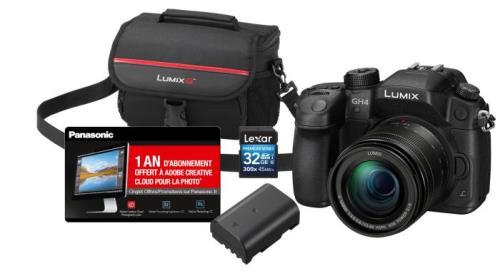 Pack Lumix GH4 + Objectif 12-60mm + 2ème Batterie + SD 32 Go + Sac + Adobe CC (avec 10€ offerts tous les 100€ d'achat)