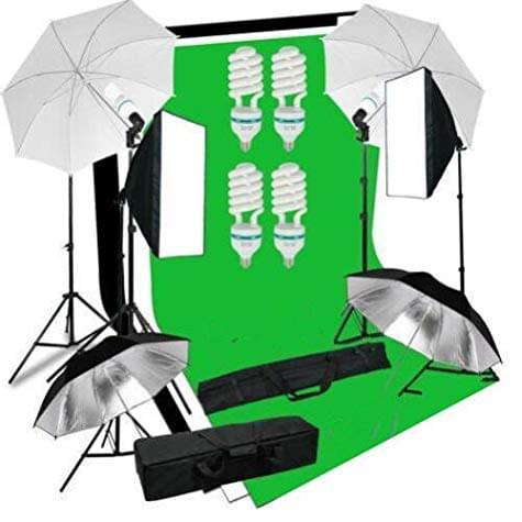 Kit studio photo MVpower (2x Softbox + Boite à Lumiere + 4x Parapluies Blanc Noir...)