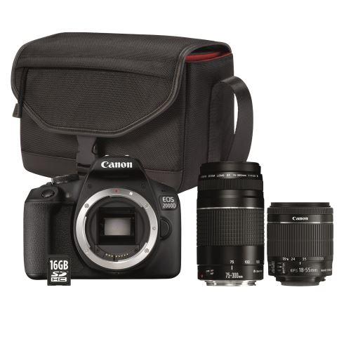 Pack Reflex Canon EOS 2000D + 2 Objectifs (18-55mm + 75-300mm) + Sac + Carte 16 Go
