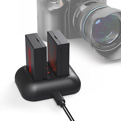 Pack chargeur (double et USB) + 2 batteries (1200mAh / compatible reflex Canon LPE8)